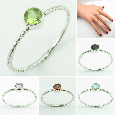 925 STERLING Silver PERIDOT & Other Gemstones, Stackable RING Band Size 5 - 9