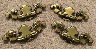 Vintage Set Of 4 Brass Chippendale Drawer Drop Bail Pull Handles With Screws