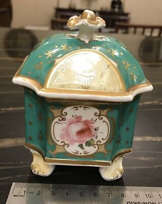 Antique Hand Painted Inkwell And Lid Rococo Style