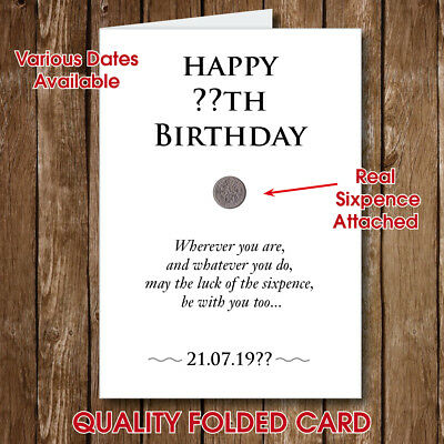 PERSONALISED 60th 70th BIRTHDAY GREETING Gift Card LUCKY SIXPENCE ATTACHED -124
