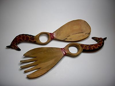 Decorative African Wooden Salad Servers Carved Handles In The Form