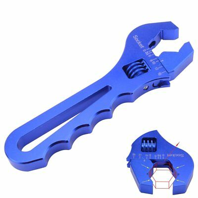 Adjustable Wrench Spanner Professional Grip 3AN-16AN Fittings Tool Blue Aluminum