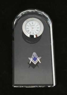 Compass & Square Cut Out Glass Clock Bedside or Desk Top Masonic Gift Boxed 81