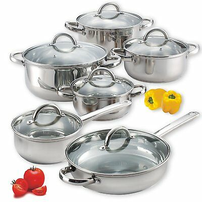 12 Piece Stainless Steel Pots and Pans Kitchen Cooking Cookware Set High Quality