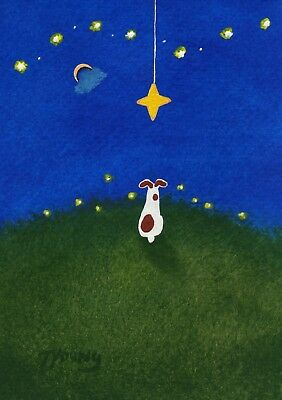 Jack Russell Parson Smooth Fox Rat Terrier Dog Art PRINT Todd Young WISHING STAR