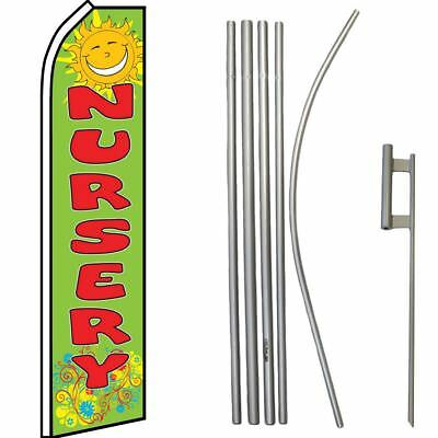Blue Swooper Flag /& 16ft Flagpole Kit //Ground Spike A//C /& Heating Service Red