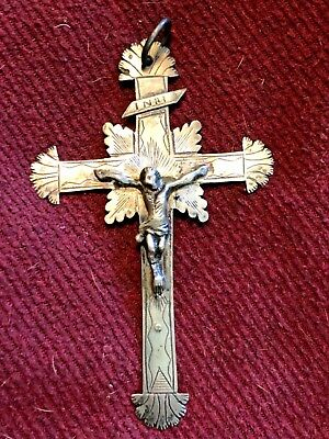A Rare 18Th Century Silver Crucifix Cross Pendant Handmade French
