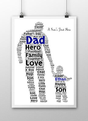 Personalised Word Art Fathers Day Dad Daddy Daughter Son Print Birthday Gift