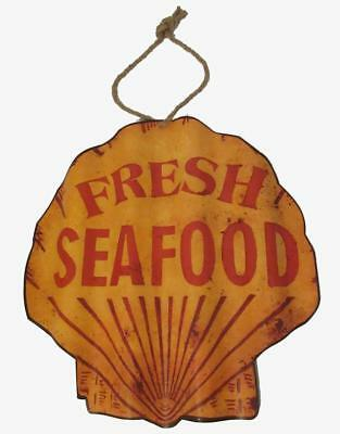 Metal Scalloped  FRESH SEAFOOD Sign ScallopThemed Market Restaurant  Signs
