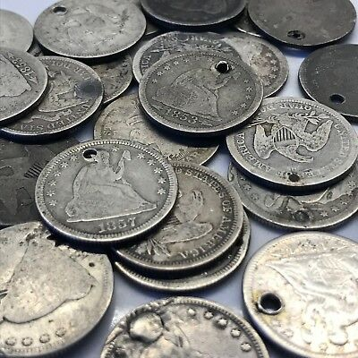 1838-1891 25C Holed Seated Liberty Quarters: Quantity Discounts!!!