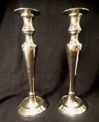 """Pre-owned Pair of Pottery Barn Silver Plate 13.5"""" Tall Taper Candlesticks"""