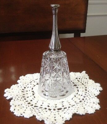 """Glass Bell with Sterling Silver handle 7"""" X 3"""" Dinner bell"""