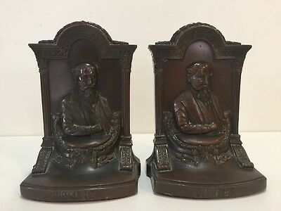 "Antique Pair of Jennings Bros. 2062 Dickens Bookends, 6 1/2"" Tall x 4 1/2"" Wide"