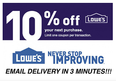 Three (3X) 10% Off Lowes Instant Delivery-3Coupons Instore/online Exp 01/31/19