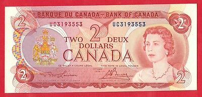 1974 $2 Bank of Canada Note Lawson-Bouey UC Prefix 3193553 - Choice UNC