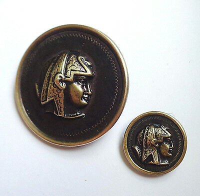 Pair Of Antique Egyptian Themed Metal Buttons Mother / Daughter Matching