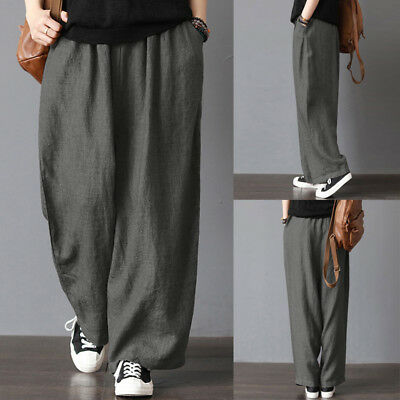 64b774651dd Men s Cotton  Linen Wide Leg Pants Hot Summer Loose Casual Bloomers Trousers