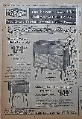 1957 newspaper ad for Philco Hi-Fi consoles - models 85-50, 85-502, Living sound