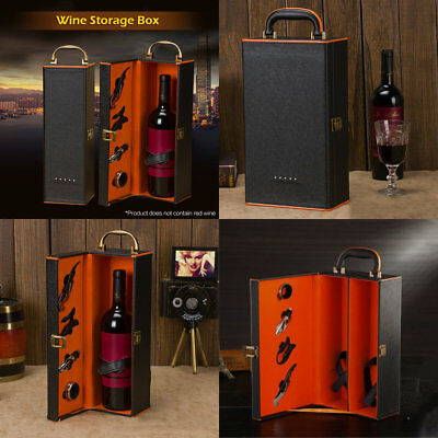 PU Leather Single/Double Holder Wine Bottle Storage Carry Case Gift Box Set Hot