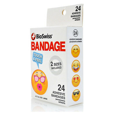 Bioswiss Smiling Face Bandaid Bandage Wound Cuts First Aid Kids Emoji 24 Pack