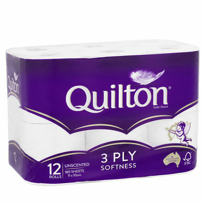 Quilton Toilet Paper Tissue Roll 3 Ply 180 Sheets Toiletries Sanitary 12 Pack