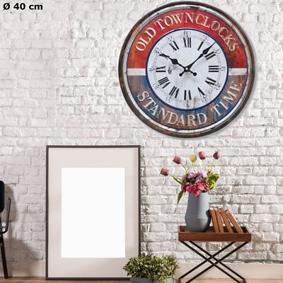Vintage Wall Clock Roman Arabic Numerals Time Display Red Blue Analogue D 40 Cm