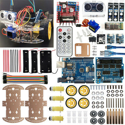 Bluetooth Multi-Function Intelligent Smart Car Kit UNO DIY for Arduino 4WD Robot