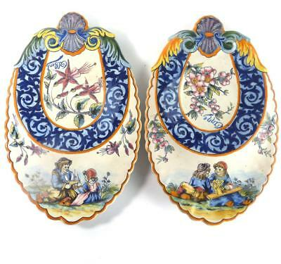 C1930's PAIR QUIMPER FRENCH FAIENCE SHAPED PLATES BRETON GIRL & BOY FLOWERS