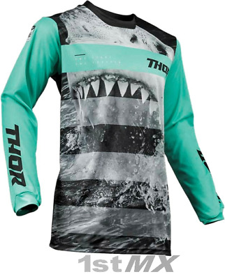 2019 Thor Pulse Savage Jaws Mint Black MX Motocross Offroad Race Jersey Adults
