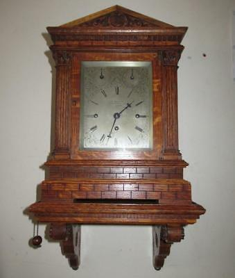 Rare Antique c1870 Solid Oak Triple Fusee Pull-Repeat Boardroom Bracket Clock