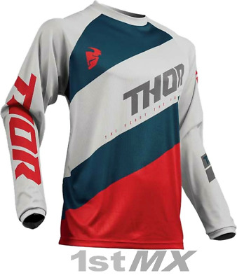 2019 Thor Sector Shear Light Grey Red MX Motocross Offroad Race Jersey Adults