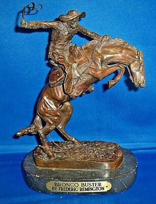 Bronco Buster By Frederic Remington Bronze Sculpture Statue, 10 Inches Tall