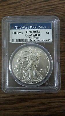 2014(W) Silver Eagle Struck At West Point Mint First Strike B3 PCGS MS69