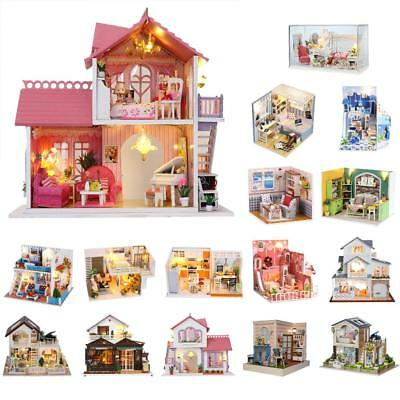 3D DIY House Model Kit Miniature LED Light Music Box Wood Dolls House Apartment