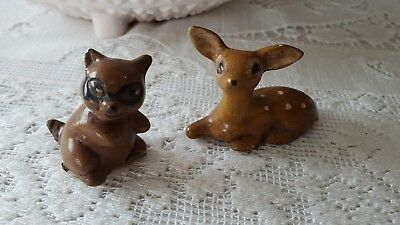 Lot 2 Vintage Miniature Raccoon,Deer, Figures -