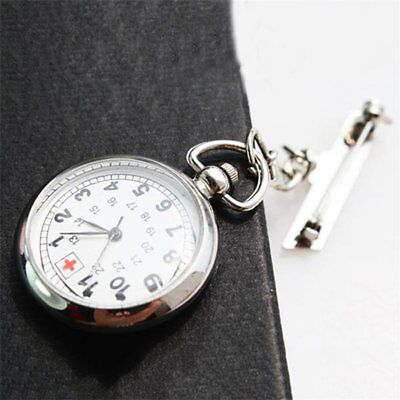 Large Face Nurses Pocket Fob Watch on a Bar with a Brooch Back Silver Color AK