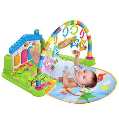 Infants Kick And Play Gym Activity Play Mat - 2 Modes Kick Piano & 4 Rattle Toys