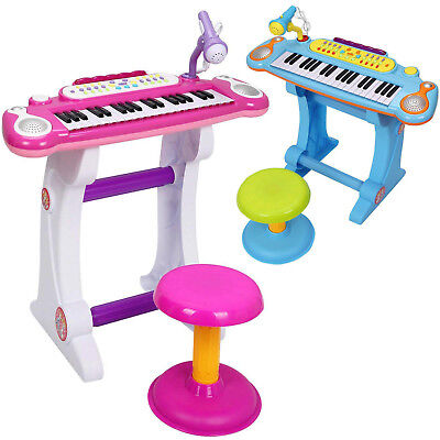Electronic Keyboard Piano with Microphone & Stool Set Musical Kids Toy, 37 KEY