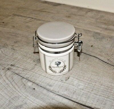 French Vintage Grey & White Small Sugar / Coffee Ceramic Jar Pot Canister