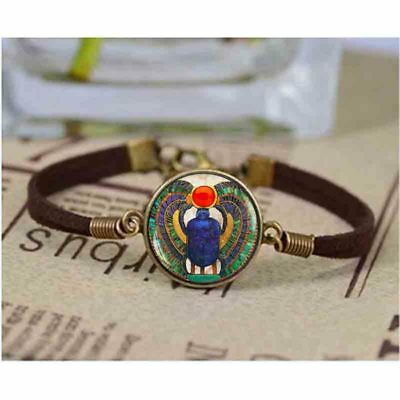 Egyptian Scarab Bracelet Egypt Pharaoh Jewelry Bangle Faience Hieroglyph Mystic