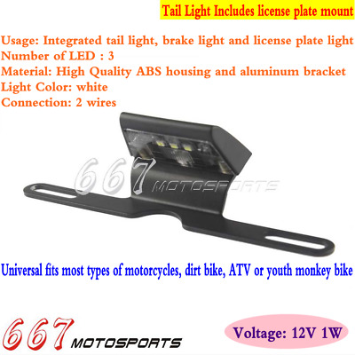 Motorcycle License Plate Light Mount Holder Bracket with LED License Taillight