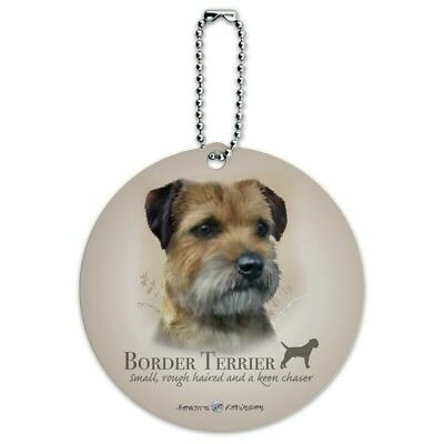 Border Terrier Dog Breed Round Luggage ID Tag Card Suitcase Carry-On