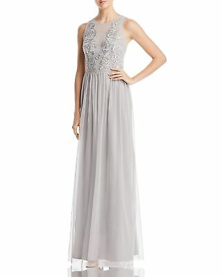 $320 Adrianna Papell Womens Blue Beaded Tulle Embellished Long Gown Dress Size 8