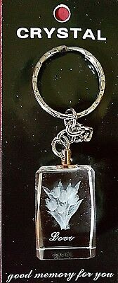 BEAUTIFUL 3D LASER ETCHED NOVELTY CRYSTAL KEYRING in GIFT BOX - LOVE FLOWERS