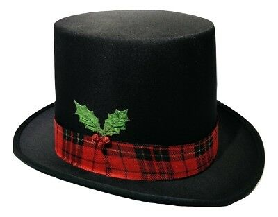 Christmas Caroler Snowman Top Hat Costume Red Plaid Band Mistletoe Holly Berries