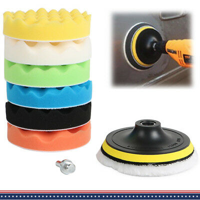 "8X 5/6/7"" Sponge Foam Woolen Polishing Buffing Pad Hook &Loop Set F Car Polisher"
