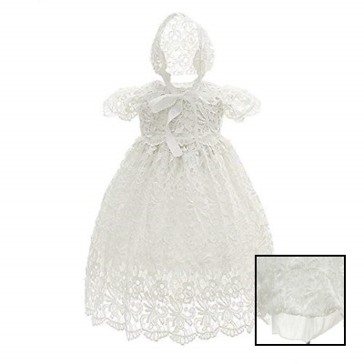 Baby Girls Lace Dress Christening Baptism Gowns & Bonnet WHITE 6 12 Months Shirt