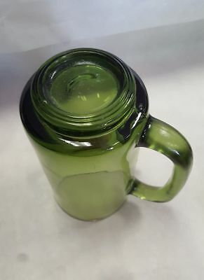 Rare Mid Century Vintage Green Glass Bar Ware Mugs 8oz
