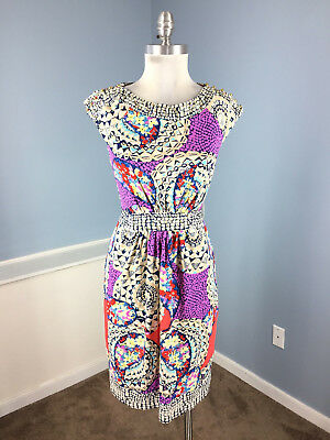 ECI S 4 Multi color Mosiac Dress Career Cocktail Stretch Excellent