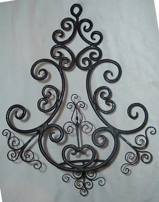 PAIR 18th-19thC GOTHIC Wrought Iron Candle Oil Lamp *SCONCES *Primitive Elegance